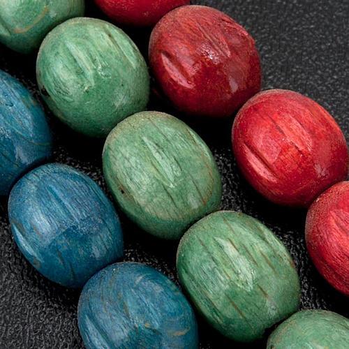 Rosario de madera Medjugorje granos coloreados 2