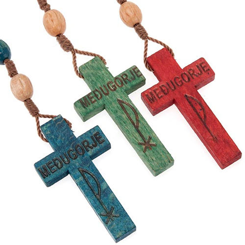 Wood Medjugorje rosary with coloured beads 1