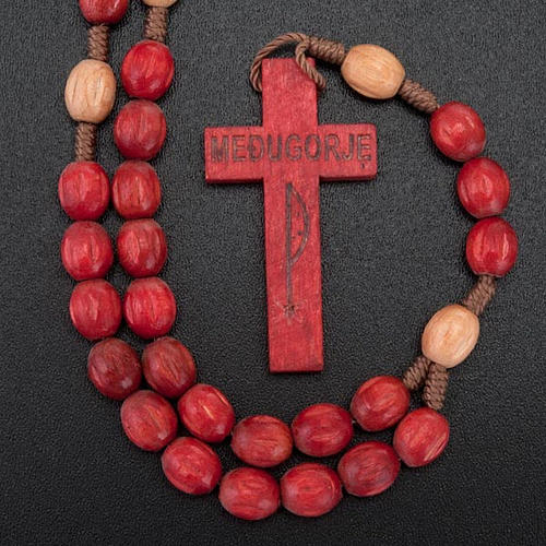 Wood Medjugorje rosary with coloured beads 3