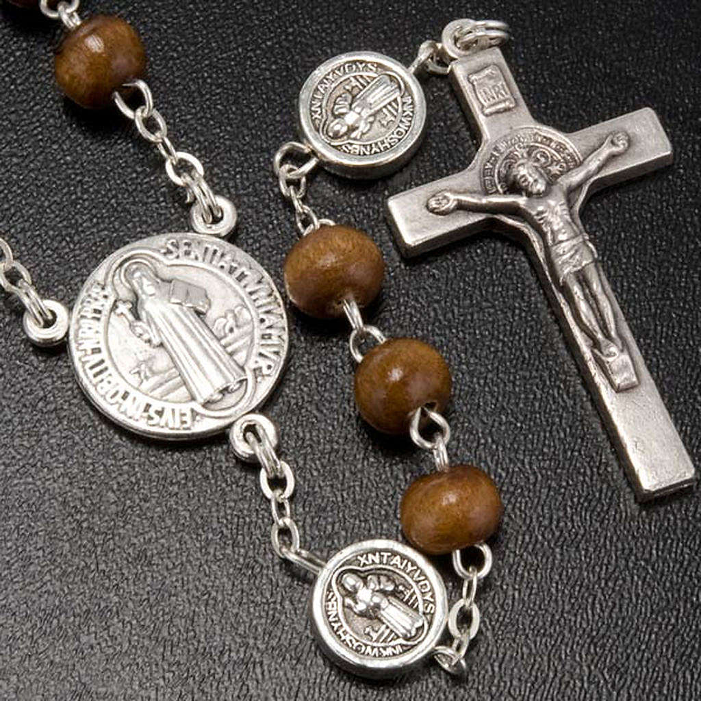 St. Benedict rosary, brown coconut-effect round beads 4
