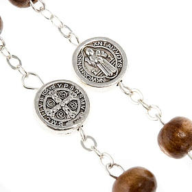 St. Benedict rosary, brown coconut-effect round beads s4
