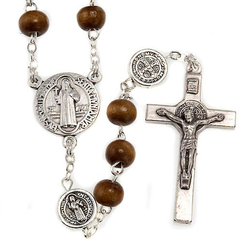 St. Benedict rosary, brown coconut-effect round beads 1