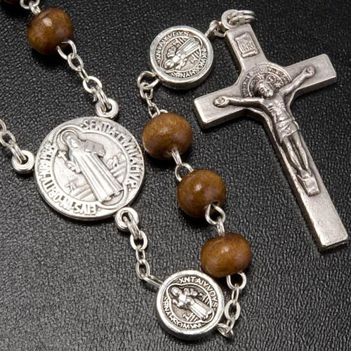 St. Benedict rosary, brown coconut-effect round beads 2