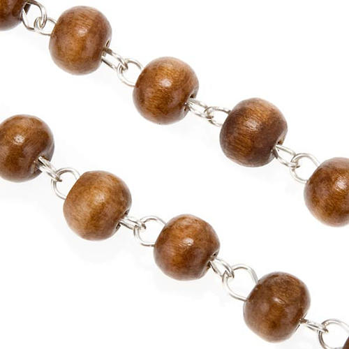 St. Benedict rosary, brown coconut-effect round beads 3