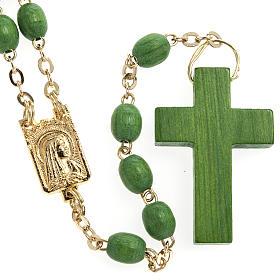 Rosarios de madera: Rosario madera verde cadena dorada 5 mm