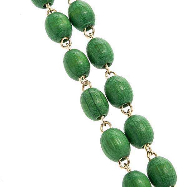 Chapelet bois vert chaîne dorée 5mm 4