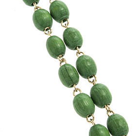 Rosary beads in green wood with golden clasp s2