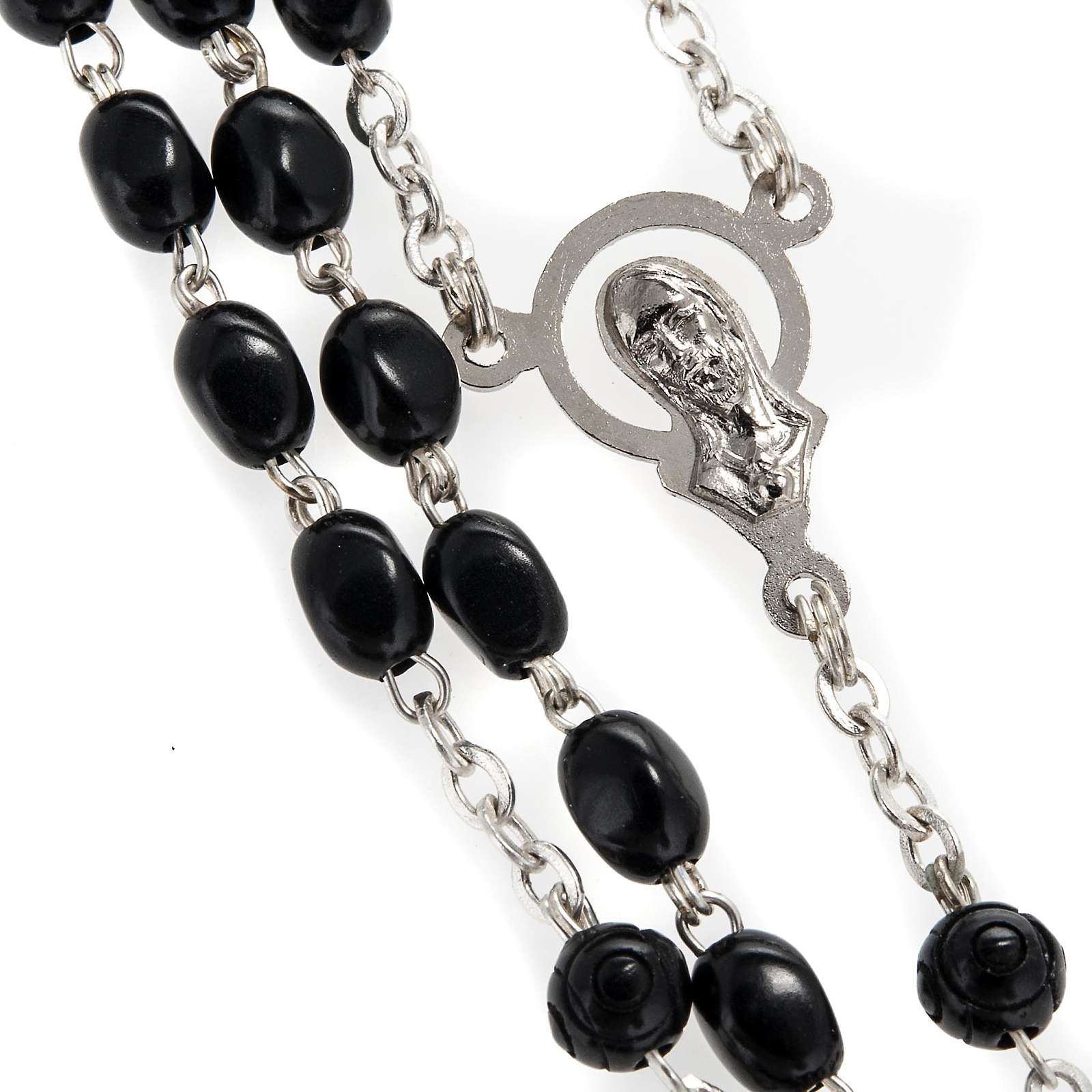 Rosary beads in black coconut wood, 6mm 4