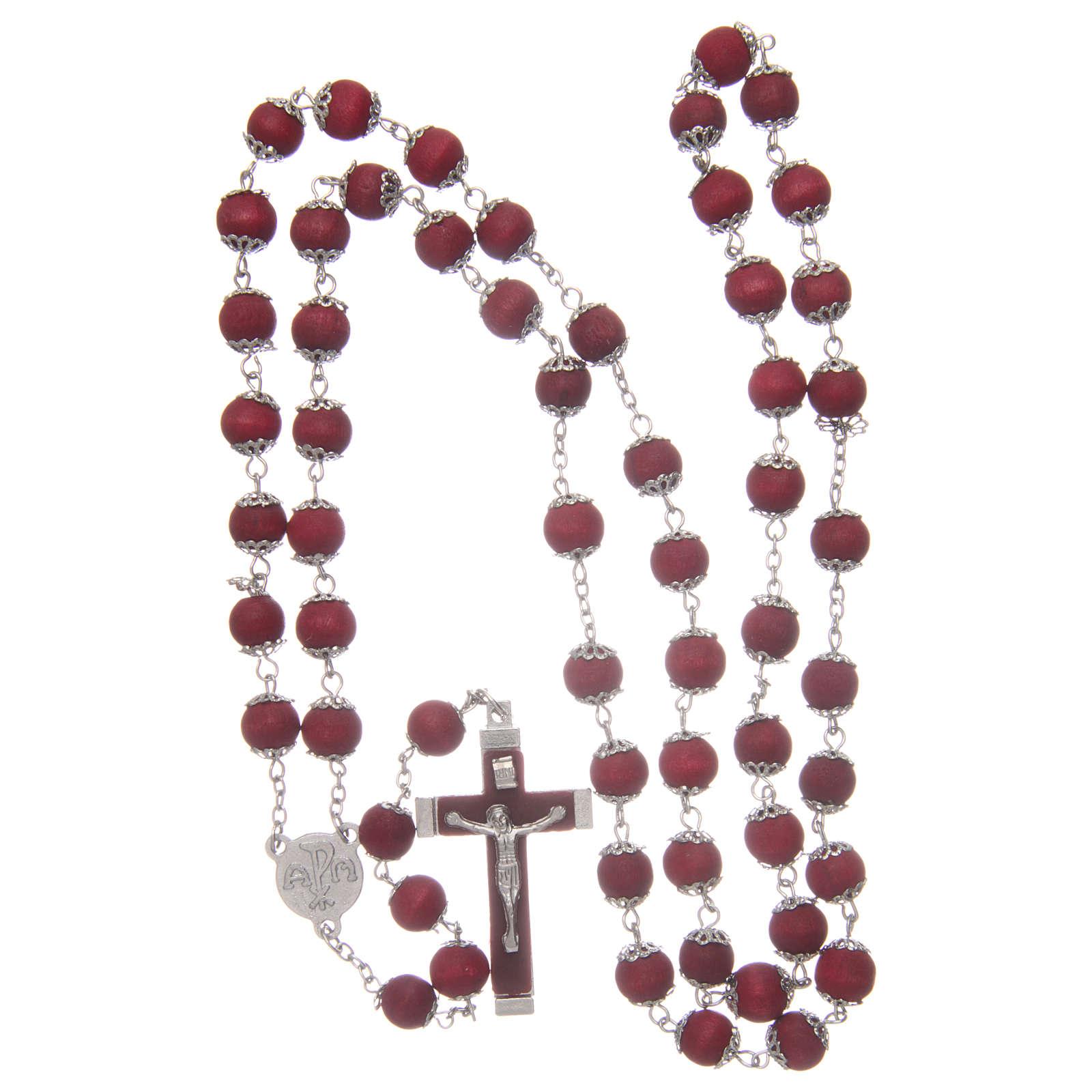 Rosario legno rosso con coppiglie 9 mm 4