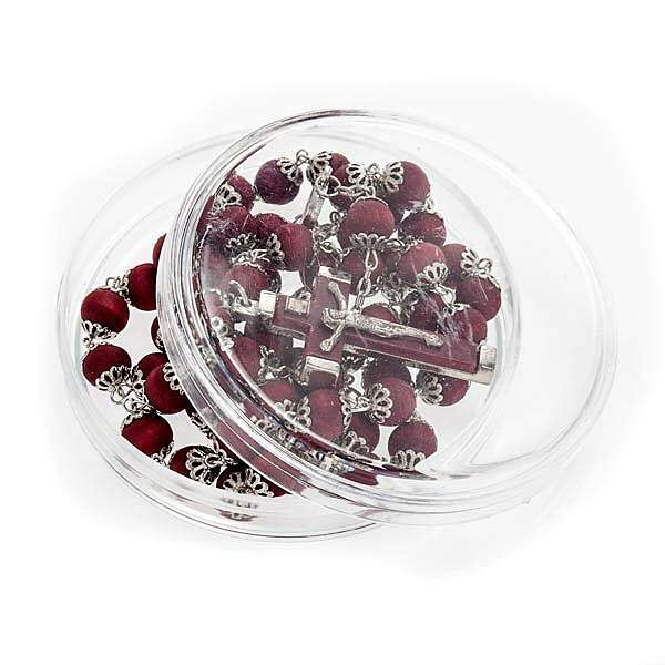 Rosary beads in red wood with safety pins, 9mm 4
