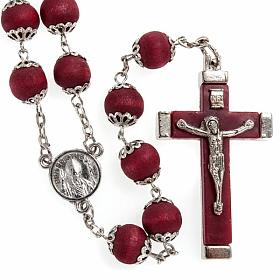 Rosary beads in red wood with safety pins, 9mm s1
