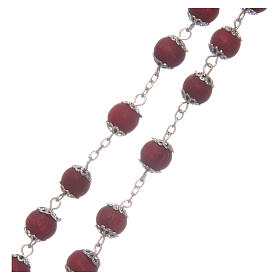 Rosary beads in red wood with safety pins, 9mm s3