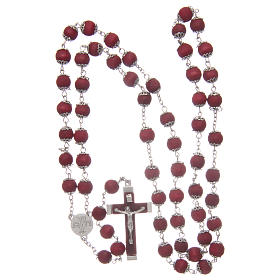 Rosary beads in red wood with safety pins, 9mm s4