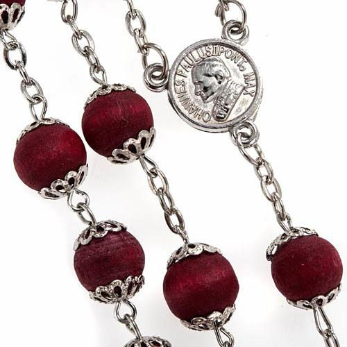 Rosary beads in red wood with safety pins, 9mm 2