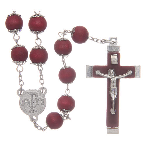 Rosary beads in red wood with safety pins, 9mm 1