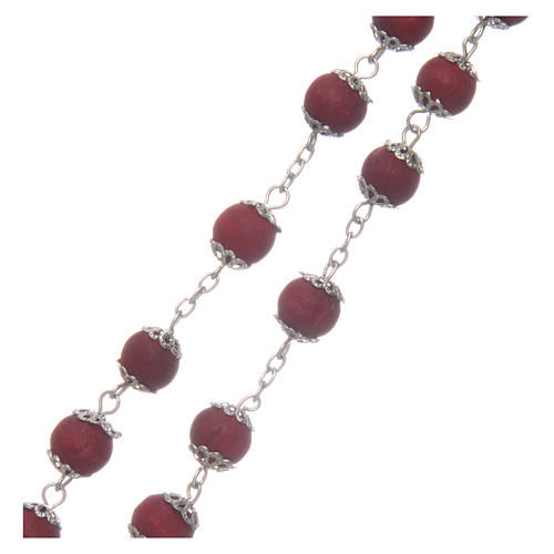 Rosary beads in red wood with safety pins, 9mm 3