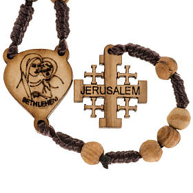 Rosary with Jerusalem crucifix in Palestinian olive wood s5
