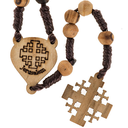 Rosary with Jerusalem crucifix in Palestinian olive wood 1