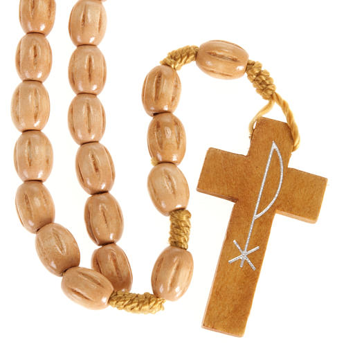 Rosary with Jerusalem crucifix in Palestinian olive wood 2