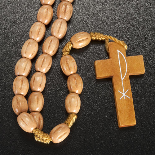 Rosary with Jerusalem crucifix in Palestinian olive wood 3