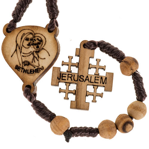 Rosary with Jerusalem crucifix in Palestinian olive wood 4