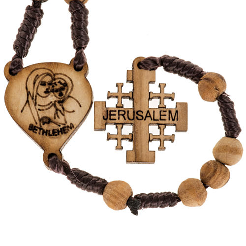 Rosary with Jerusalem crucifix in Palestinian olive wood 5