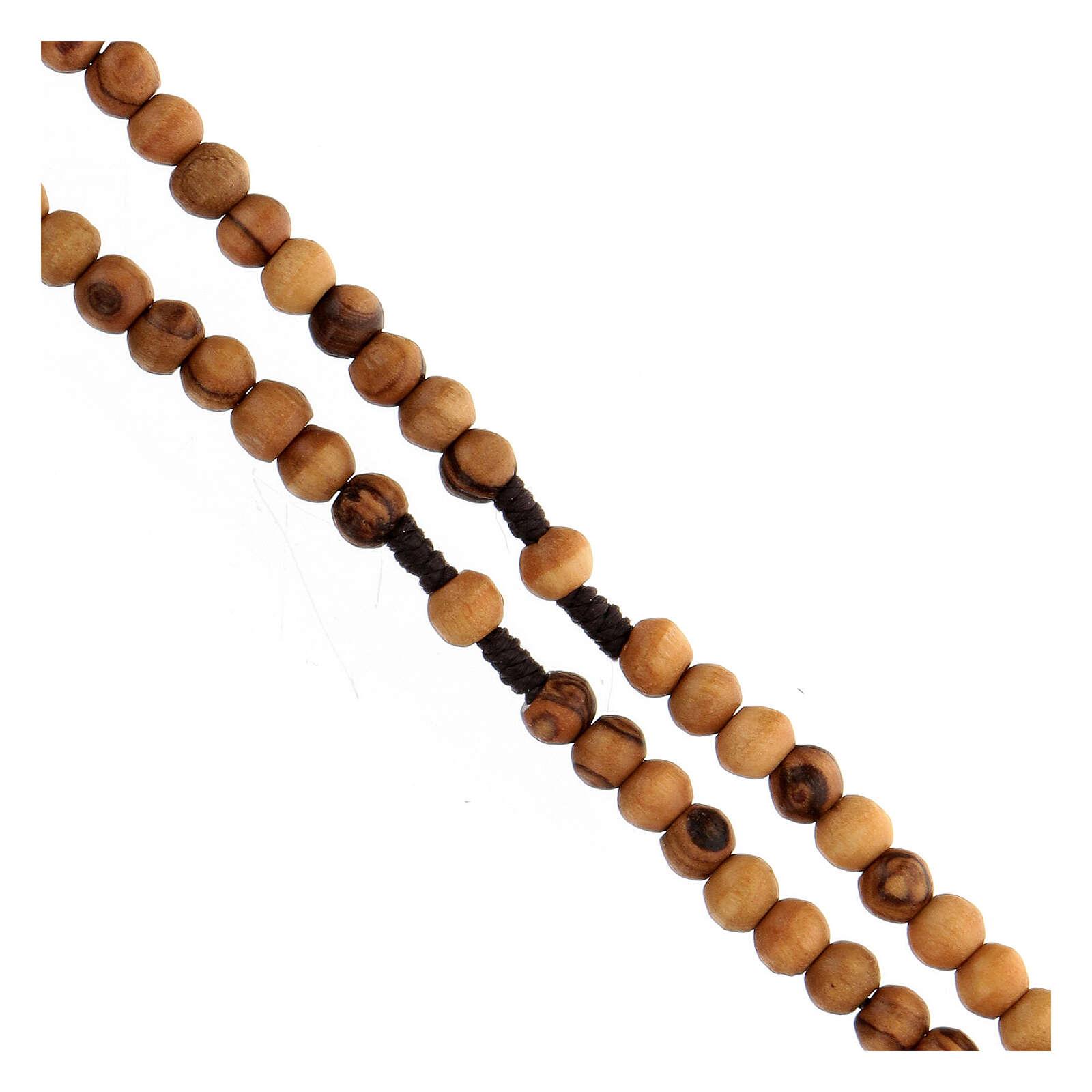 Mini rosario olivo Tierra Santa cuerda 6mm 4