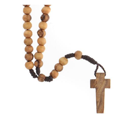 Mini rosario olivo Tierra Santa cuerda 6mm 1