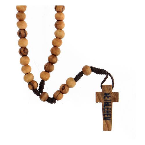 Mini rosario olivo Tierra Santa cuerda 6mm 2