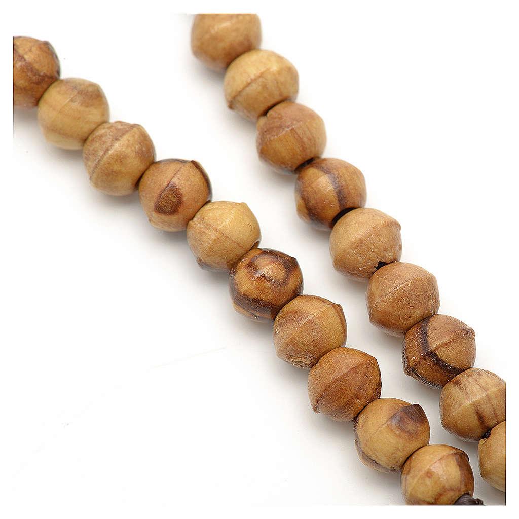 Mini chapelet bois d'olivier Terre Sainte corde 6 mm 4