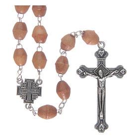 Rosary With Jerusalem Center Piece Palestinian Olive Wood