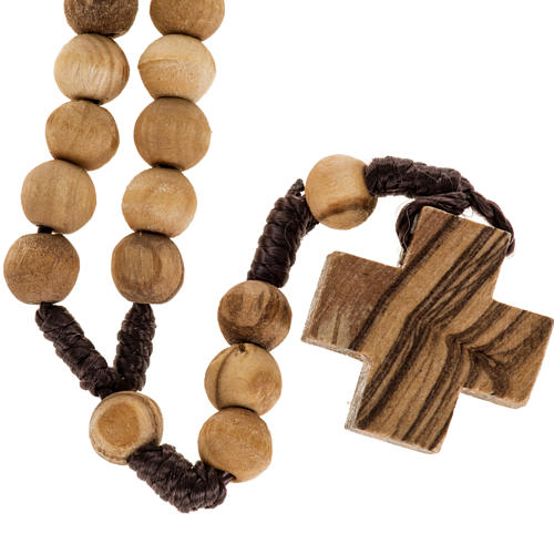 Rosary simple cross in Palestinian olive wood 7 mm 1