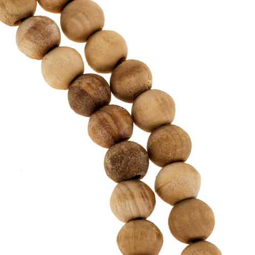 Rosary simple cross in Palestinian olive wood 7 mm 2
