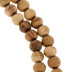 Rosario Tierra Santa olivo cuerda 7mm cruz simple s2