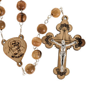 Wood rosaries: Rosary with threefoiled crucifix in Palestinian olive wood 8 mm