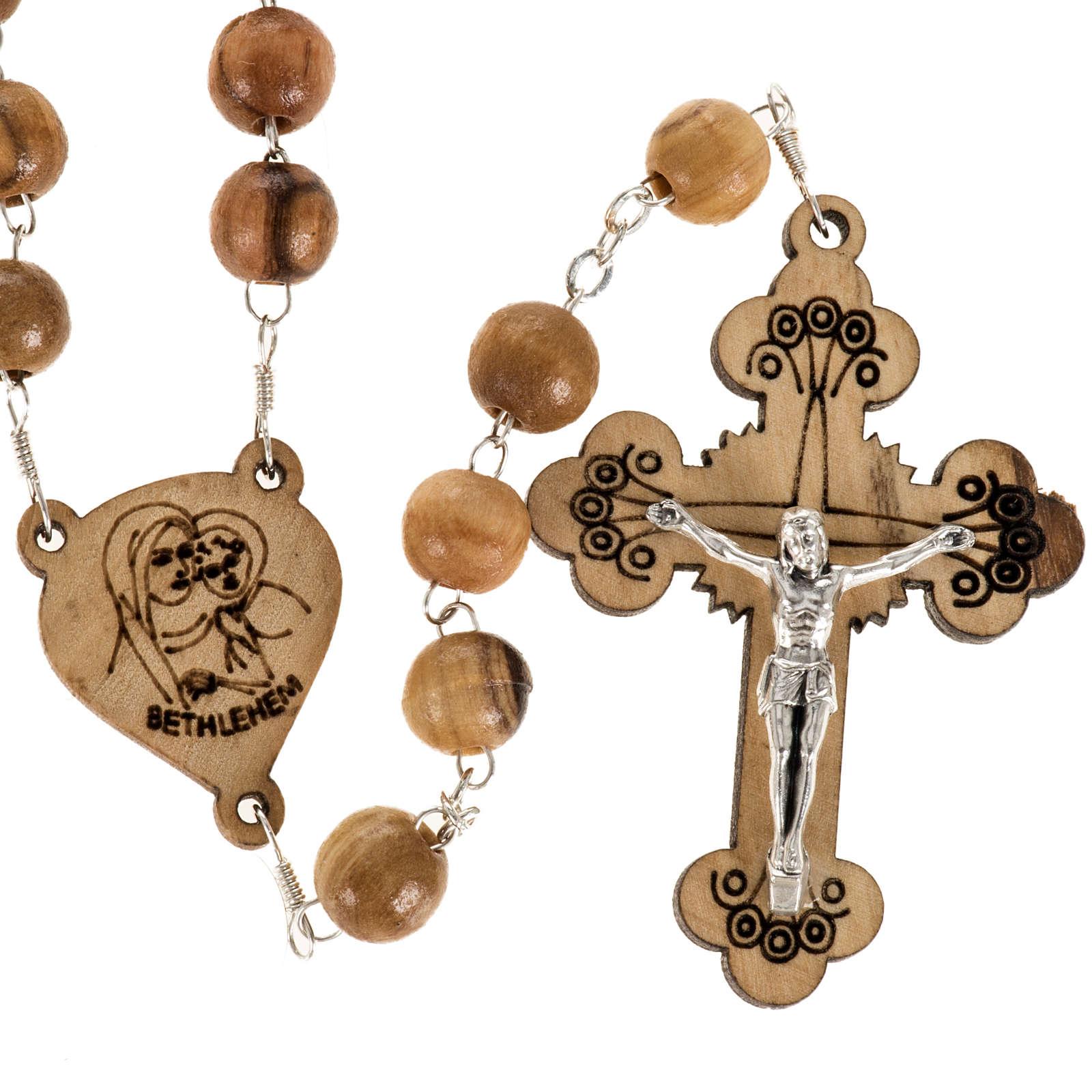 Chapelet Terre Sainte bois d'olivier croix trilobée 4