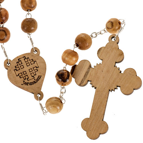 Chapelet Terre Sainte bois d'olivier croix trilobée 3