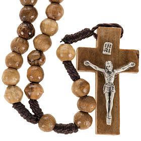 Chapelet Terre Sainte bois d'olivier corde croix 8mm s1