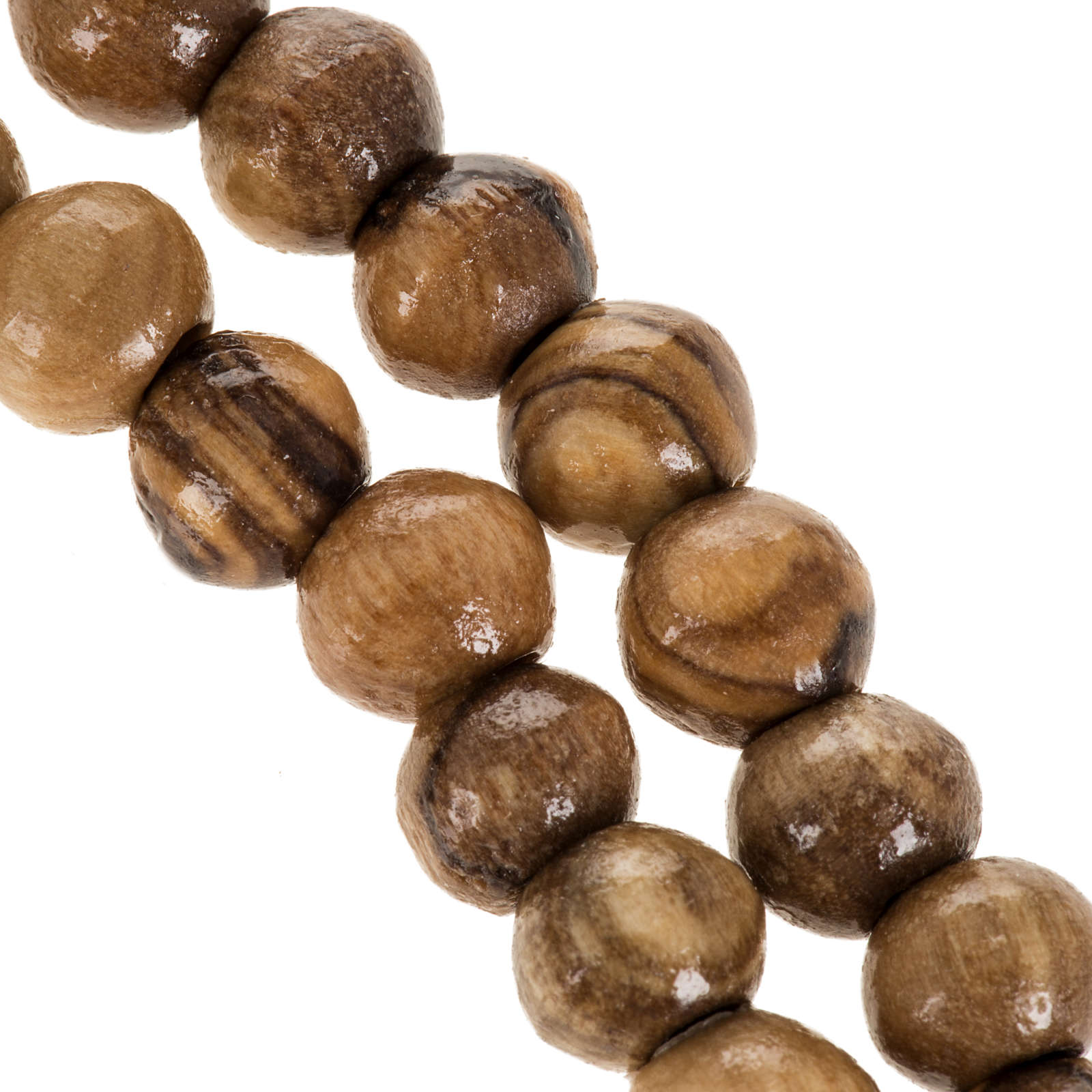 Rosario Terrasanta olivo corda croce legno 8 mm 4
