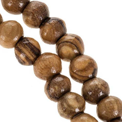 Rosario Terrasanta olivo corda croce legno 8 mm 3