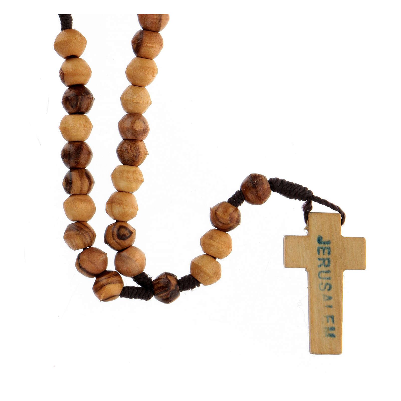 Rosario olivo Tierra Santa cuerda simple 8 mm 4