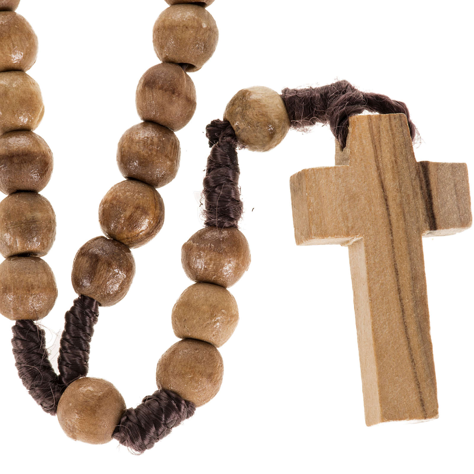 Rosary beads in Palestinian olive wood and rope 8 mm 4