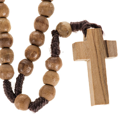 Rosary beads in Palestinian olive wood and rope 8 mm 1