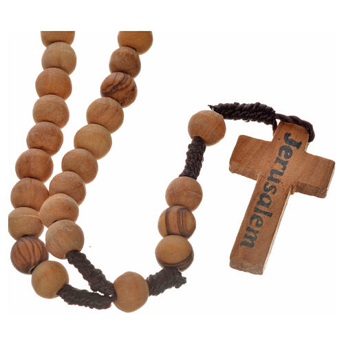 Rosary beads in Palestinian olive wood and rope 8 mm 5