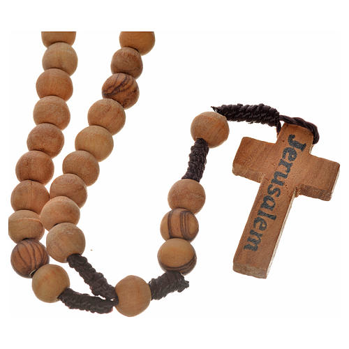 Rosary beads in Palestinian olive wood and rope 8 mm 2