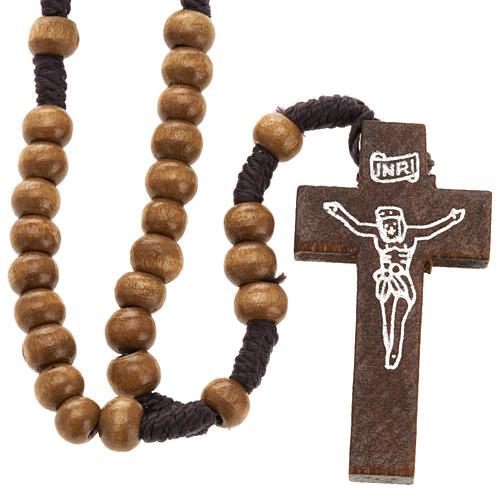 Mini rosario legno legatura corda 5 mm 1