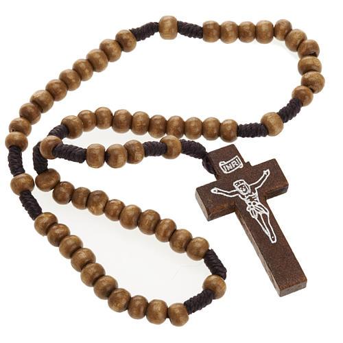 Mini rosario legno legatura corda 5 mm 2