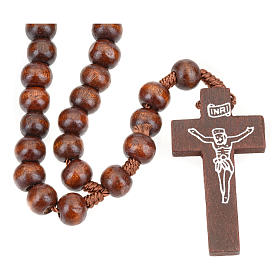Rosary beads in dark wood, 8mm with clasp s4