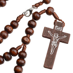 Rosary beads in dark wood, 8mm with clasp s1