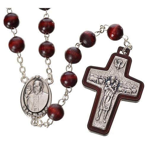 Rosenkranz Papst Franziskus aus Holz 1